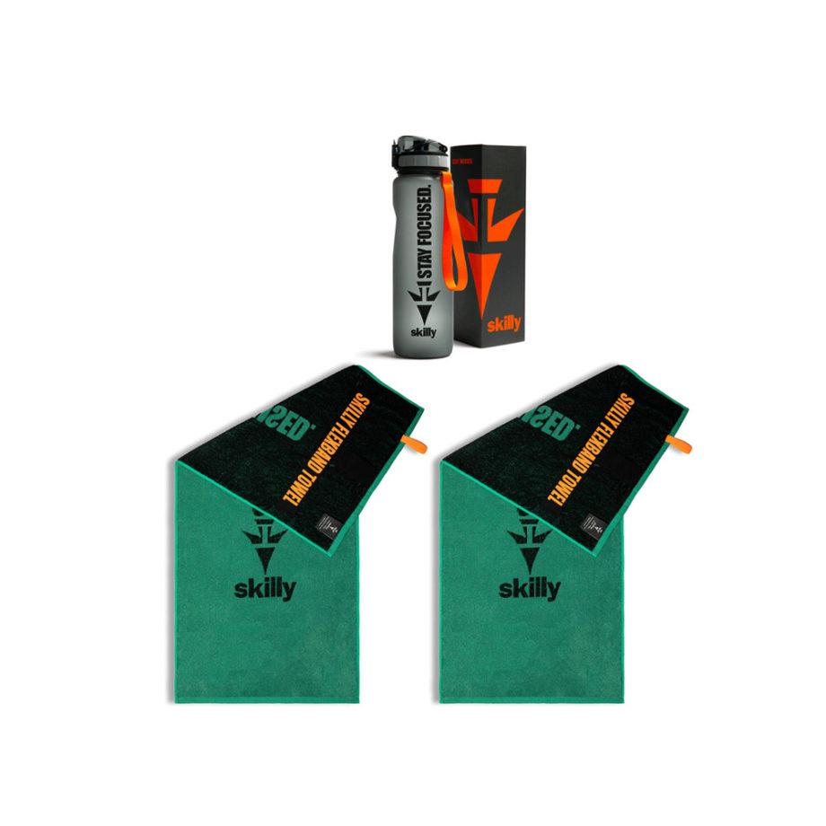 fitnesshandtuch set grün mit trinkflasche